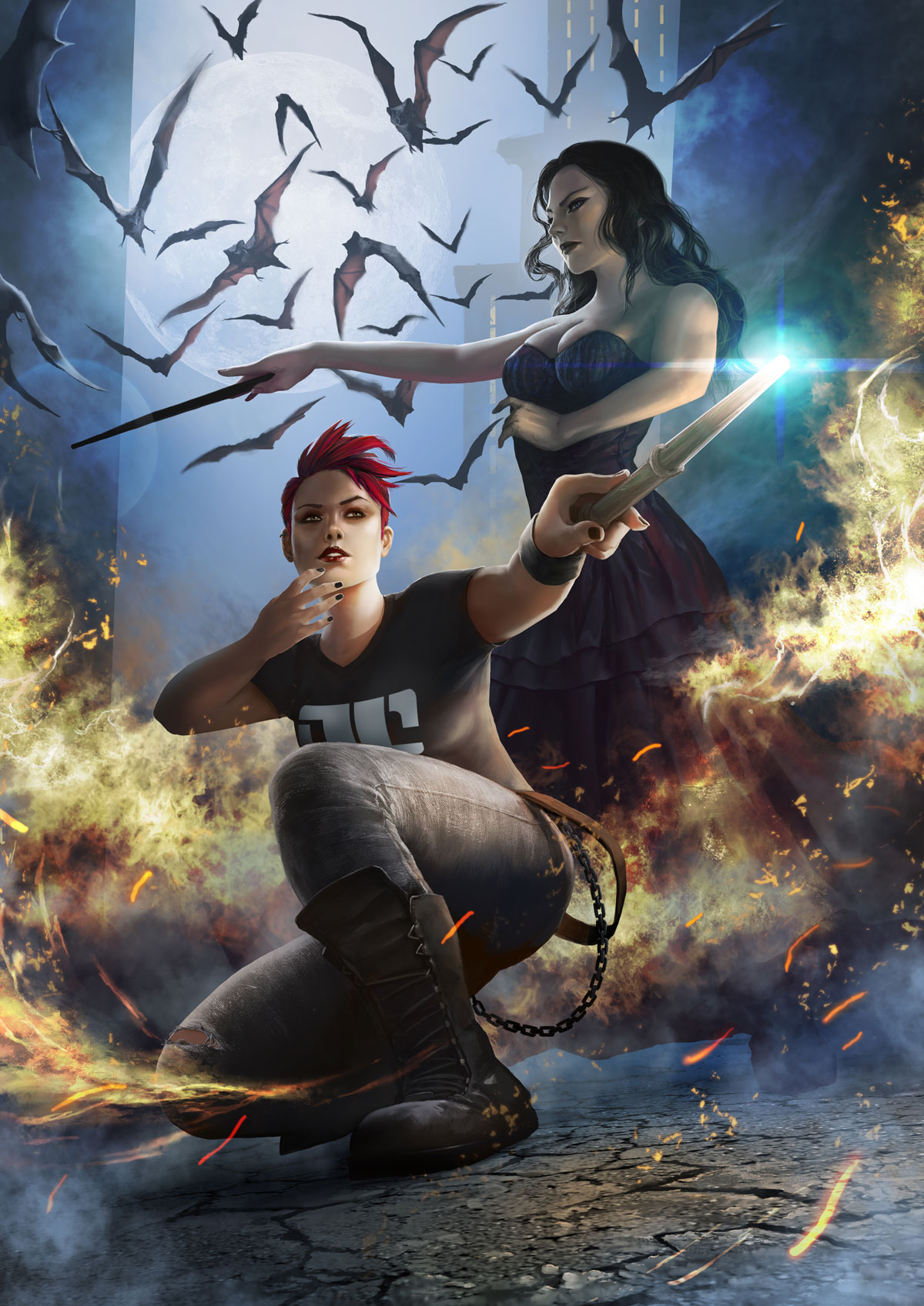 Molly and Onyx - Art Commission for Fans of Urban eBook Fantasy Good Intentions